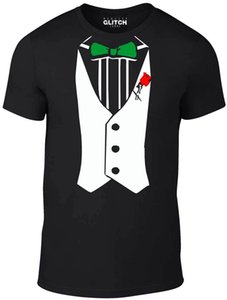 Wholesale Tuxedo t shirt Funny t shirt comic fancy dress retro party smart shirt Bow Tie new Summer Fashion cotton Printed T Shirt