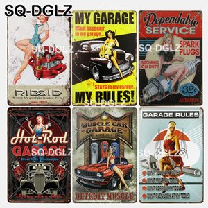 Wholesale SQ DGLZ New MUSCLE CAR GARAGE Tin Sign Wall Decor Garage Rules Metal Crafts Rules Painting Plaques Art Poster