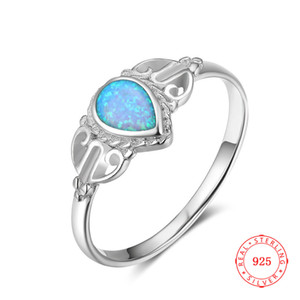 Wholesale Good Quality Elegant Pear Cut Lab Opal Ring Solid Sterling Silver Jewelry Luxury Women Christmas Gift Blue Gemstone friendship necklace