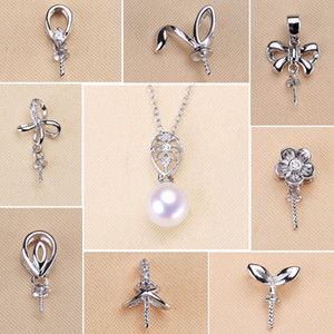 Wholesale 925 Sterling Silver Pendant Settings Zircon Solid Pearl Necklace Settings 18 Styles Fashion Necklace for Women Blank DIY Jewelry G