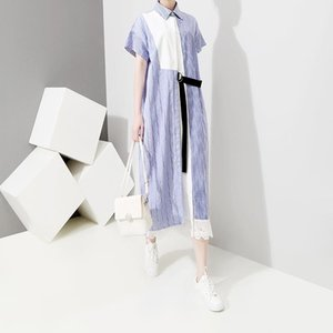 Wholesale 2019 Korean Style Women Summer Long Shirt Dress With Sashes Blue Striped Part Patchwork Female Casual Wear Dress Robe Femme F279