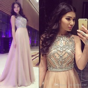 2019 New Promo A Line Scoop Neck Beaded Crystal Long Sweep Train Chiffon Champagne Prom Dress Women Formal Party Gown 121 on Sale