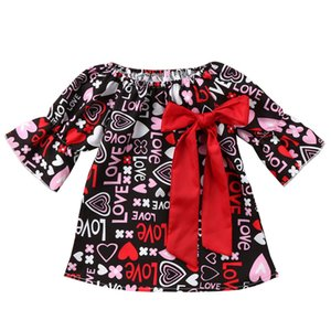 Wholesale Baby Girl Dresses Kids Girl Princess Skirt Long Flare Sleeve Round Collar Love Letter Prnting Big Bow