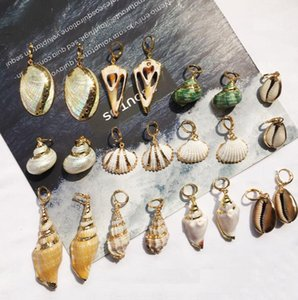 Wholesale Sea Conch Natural Shell Charms Earrings Gold Rim Pendant Earring DIY Craft Ornaments Jewelry Making