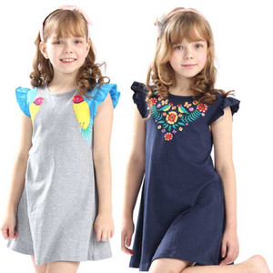 Wholesale 2019 Hot selling baby girls summer embroidery dresses kids top quality cartoon dress with applique some cute birds new designed Dress B11