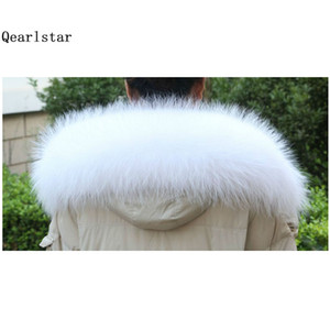 Wholesale 100 Real Raccoon Fur White Fur Collar for Hood Women Men Coat Sweater Scarves cm Natural Raccoon Fashion Scarf Z196