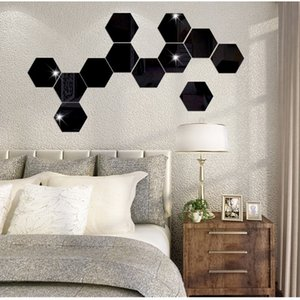 Wholesale Geometric D Stereo Removable Mirror Wall Sticker Home Background Decoration Home Decoration Accessories Hexagon Mirror