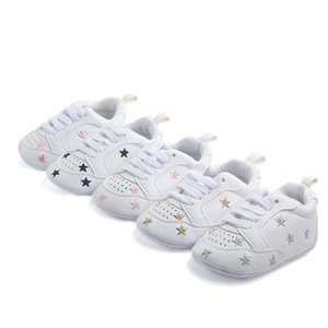 Wholesale Baby Shoes Fashion New Autumn Winter Sports Hearts Five Star Baby Shoes M First Walkers white soft soles shoes