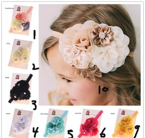 Wholesale Shabby Chic Headband Baby Hair Flowers Headbands Newborn Baby Hair Bows Hair Accessories Bows Photo Prop