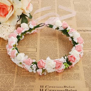 Wholesale Wedding Rose Flower Crown Artificial PE Flower Wreaths Bride Hairband Festival Travel Beach Hair Accessory Floral Garland Fake Flower