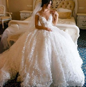 Arabic Lace Ball Gown Wedding Dresses 2020 Sheer Cap Sleeves 3D Lace Floral Appliques 3D Floral Cathedral Train Wedding Bridal Gowns