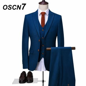 Wholesale OSCN7 Blue Tailor Made Suits Fashion Event Piece Customize Suit Men Plus Size Casual Custom Made Suit