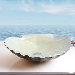 Art Table Bathroom Wash Basin Shower Room Glass Hot Coloring Scallop In Shell Shape Melt Washing Basins Fashion Home Decor 228bw jj on Sale
