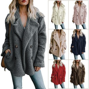 Wholesale Europe and the United States in autumn and winter double breasted sweater Amazon Lapel loose wool jacket women online