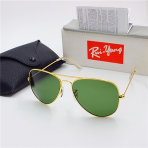Wholesale 2017 new to high quality fashion designer man ladies vintage sunglasses gold frame green mm glass lens UV400 protection black case