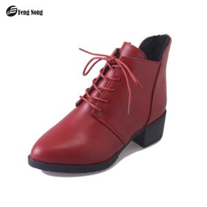 Wholesale Fengnong Leather Girl s Cute Women Snow Boots Lace Up Pointed Toe Fashion Outdoor Warm Zapatos Mujer Girl s Mature Boots WBT129