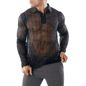 Wholesale Men s Sexy See through Transparent T Shirt Fashion New Long Sleeve Nightclub Wear Tshirt Men Party Prom Streetwear Tops Tee