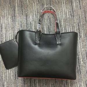 Women rivet handbags red bottom ladies fashion composite handbag top quality genuine leather purse Big Shouder bags 49cm