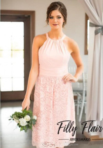 Wholesale 2019 New Classic Pink Color Midi Length Halter Neckline Chiffon Bridesmaid Dresses With A Beautiful Lace A-line Skirt Custom Made