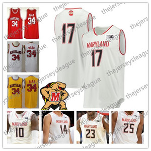 Wholesale 2019 Custom Maryland th Terps Any Name Number Red White Yellow Anthony Cowan Jr Jalen Smith NCAA College Basketball Jersey