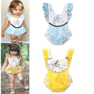 Wholesale yellow baby lace romper resale online - Baby Lace Sleeveless Romper Toddler Princess Printed Jumpsuits Summer Kids Ruffle Climbing Clothes Yellow Blue Color