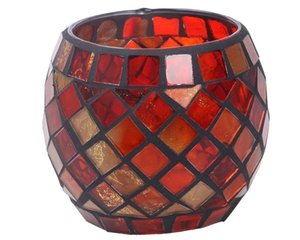 Handmade Red Orange Mosaic Glass Bowl Candle Holders Votive Tealight Candleholders Home Decor Christmas Party