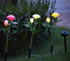 Wholesale 2019 New Outdoor Solar Powered LED Light Waterproof Rose Flower Stake Lamp Easy to Install for Home Garden Yard Lawn Path decorate