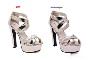 Wholesale 14cm champagne gold cross tied prom wedding shoes sexy thick high heels gladiator sandals Size To