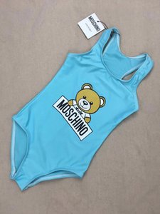 2020 Summer one -piece baby girls jumpsuits swimwear Funny bear swimsuit kids beach clothing