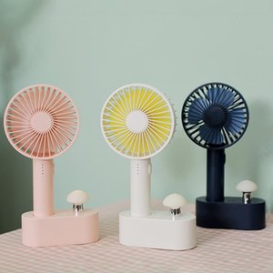 Wholesale BRELONG portable mini fan mushroom night light handheld fan USB rechargeable desktop fan home desktop White Blue Pinkl