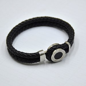 Wholesale high quality MB Leather Bracelets Woven Antique mens black Charm Bracelets Toggle clasps Man bangles luxury Jewelry for festival gift