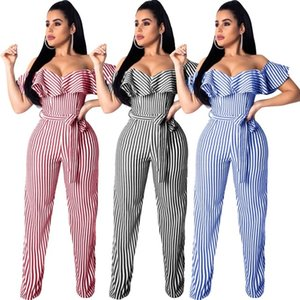 Wholesale Ruffle Spliced Sexy Slash Neck Jumpsuit Summer Short Sleeve Empire Wide Leg Romper With Sash Women Striped Casual Overall