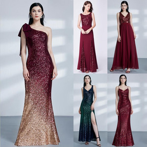 Wholesale 2019 hot sale Robe De Soiree Longue Little Mermaid Burgundy Red Sexy Evening Dresses Sequined Sparkle Plus Size Coctail Dresses Party Gowns