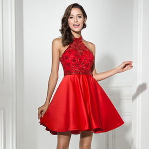 Cheap Red Halter Party Dress With Shiny Beads and Backless Homecoming Dresses Prom Dresses Custom Made LX316 on Sale