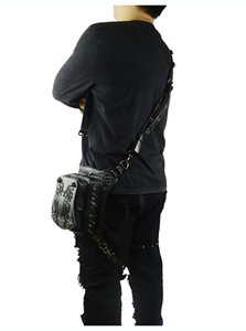Wholesale Rock Men s Leg Bags Steampunk Gothic Spider Fanny Pack Retro Black Leather Waist Bag Crossbody Messenger Phone Case Holder