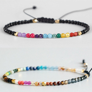 12 Constellation Lucky Stone Beads Simple Bracelet 3mm Beads Adjustable Bracelet Bohemia Unisex Women Chakra Bracelets