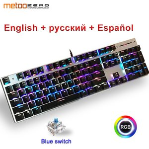 Wholesale Metoo Genuine Mechanical Keyboard RGB Mix lights Backlight key blue Switch USB Wired LED Backlight Gaming Keyboard for Gamer