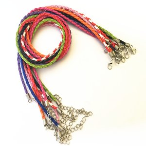 Wholesale 3mm inch adjustable Mixed color Faux Braided leather necklace cord with lobster clasp accessories