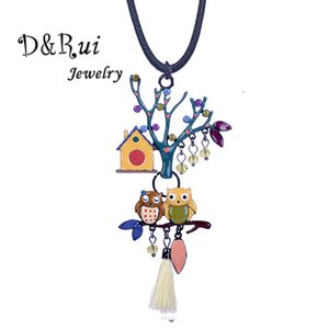 Wholesale D Rui Jewelry Hot Enamel Tree of Life Pendants Couple Owls Birds Necklace Dropshipping New Design Animal Pendant Necklaces