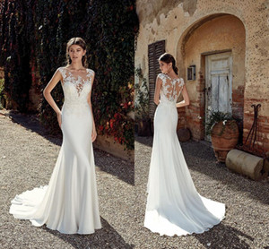 Wholesale sexy bohemian wedding dresses resale online - Cheap Berta Lace Appliqued Mermaid Wedding Dress Sexy Vintage Bohemian Beach Boho Plus Size Bridal Gown
