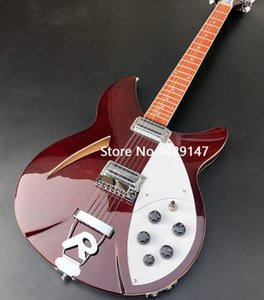 Wholesale RIC Strings Wine Red Semi Hollow Body Electric Guitar Gloss Varnish Fingerboard Two Output Jack Dual Body Binding Five Konbs