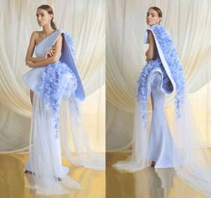 Wholesale 2019 Azzi & Osta Blue Prom Dresses Satin Lace 3D Floral Appliqued One Shoulder Gorgeous Evening Dress Sweep Train Girls Pageant Gowns