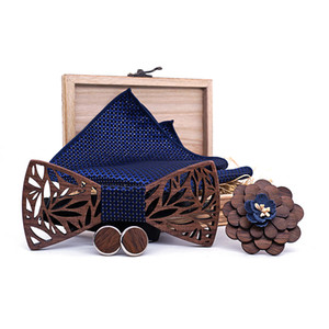 Wholesale Wooden Bow Tie Handkerchief Set Men s Plaid Bowtie Wood Hollow carved cut out Floral design And Box Fashion Novelty ties