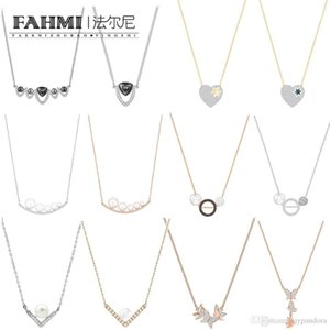 Wholesale FAHMI SWA Classic Beautiful Love Stars Cute Cartoon Pendant Necklace Rose Gold Elegant Romantic Butterfly Women Clavicle Chain