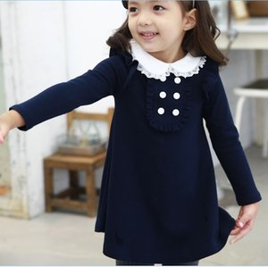Wholesale Autumn Winter Cotton Girl Korean Clothes Doll Collar Long Sleeved Fashion Girls A line Mini Dress Kids Clothing Q190522