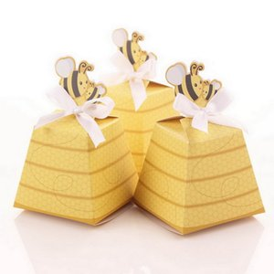 Wholesale European Yellow Bee Style Baby Shower Birthday Party Wedding Favors Candy Boxes Gift Box with White Ribbons W8737