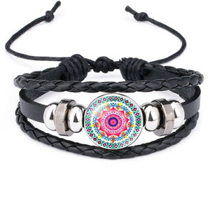 Wholesale 2019 Indian Mandala Flower Of Life bracelets For women Buddhism Meditation Glass Cabochon charm leather rope bracelets bangle Mens Jewelry