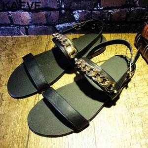 Open Toe Fashion Balck Sandals Leather Soft Men Gold Chain Flat Sandals Male Rome Hollow Summer Shoes In England
