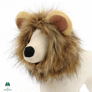 Wholesale FourGroup kennel Paradise Cat Ornament Little Cute Lion Ears Hat Fall And Winter Clip Silk Imitation Dog Hair Terry Fabric Brown