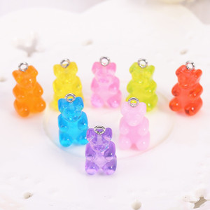 Wholesale candy charms for sale - Group buy 32pcs resin gummy bear candy necklace charms very cute keychain pendant necklace pendant for DIY decoration